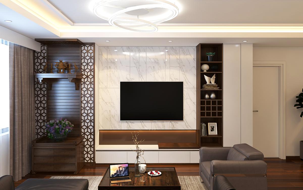 Tấm pvc vân đá trong nội thất phòng khách