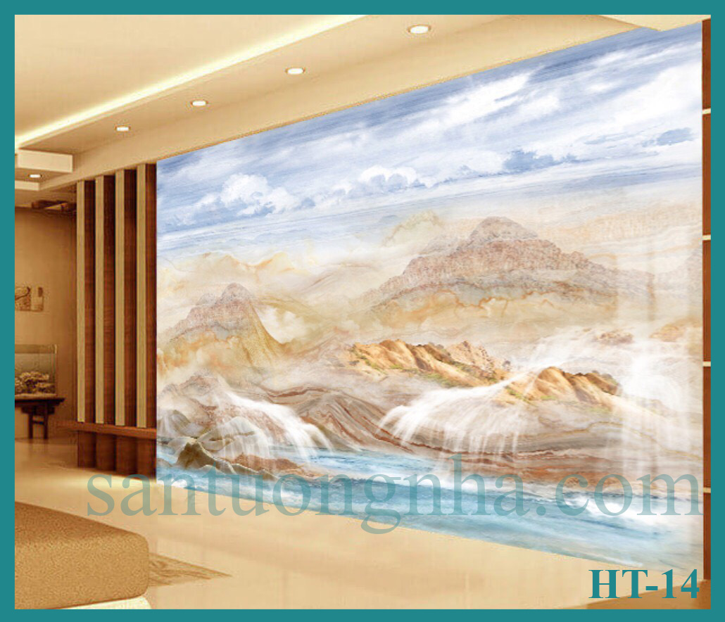 Tấm ốp tường PVC vân đá đối xứng HT-14