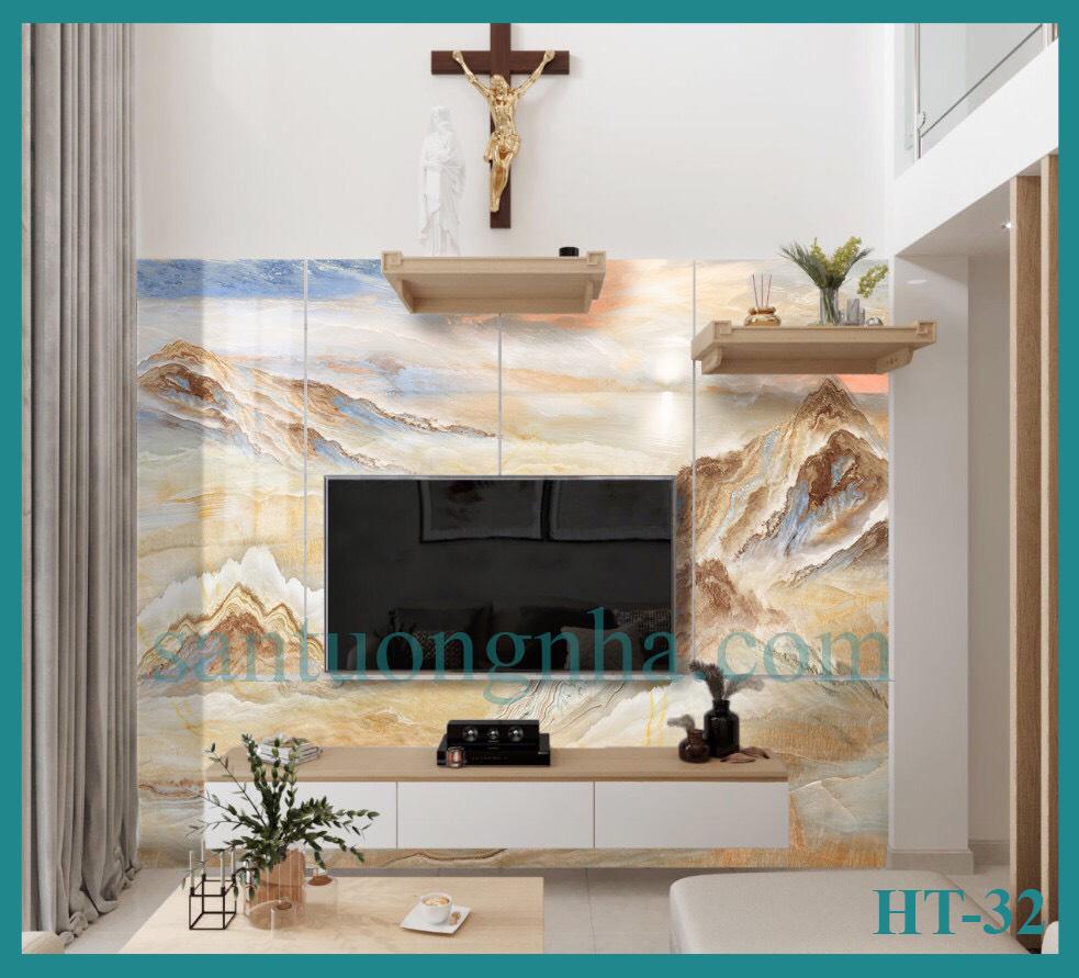 Tấm ốp tường PVC vân đá đối xứng HT-32