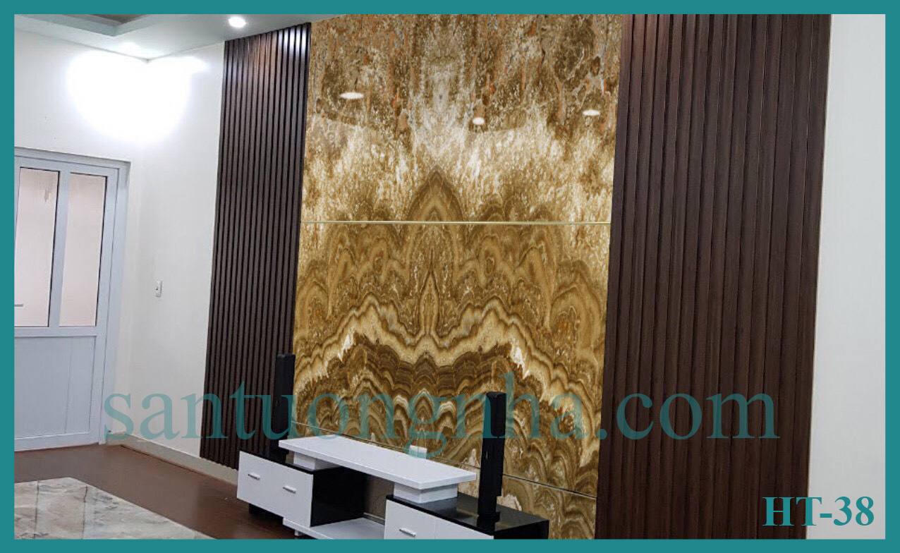 Tấm ốp tường PVC vân đá đối xứng HT-38