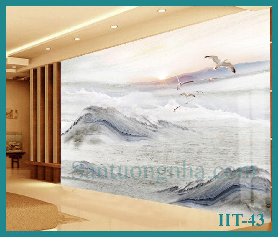 Tấm ốp tường PVC vân đá đối xứng HT-43